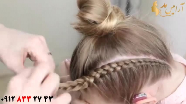 آموزش شینیون مو دخترانه با بافت و فر مو
