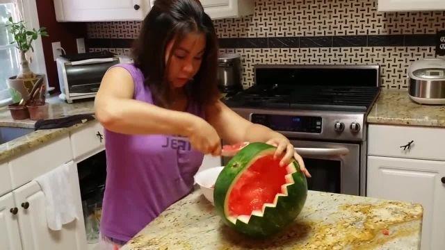 آموزش میوه آرایی هندوانه شکل سبد میوه