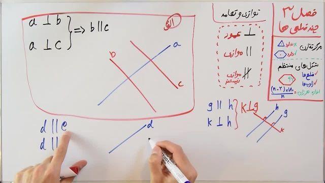 آموزش ریاضی پایه هشتم - فصل سوم- بخش دوم - توازی و تعامد