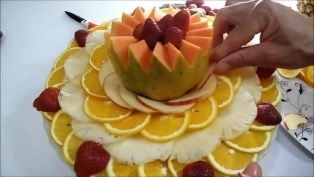 آموزش میوه آرایی ملون با دورچین میوه ها