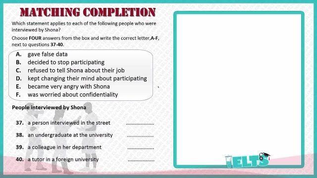 دانلود رایگان دوره کامل آموزش IELTS - لیسنینگ-نمونه دوم از سوالات مچینگ Matching