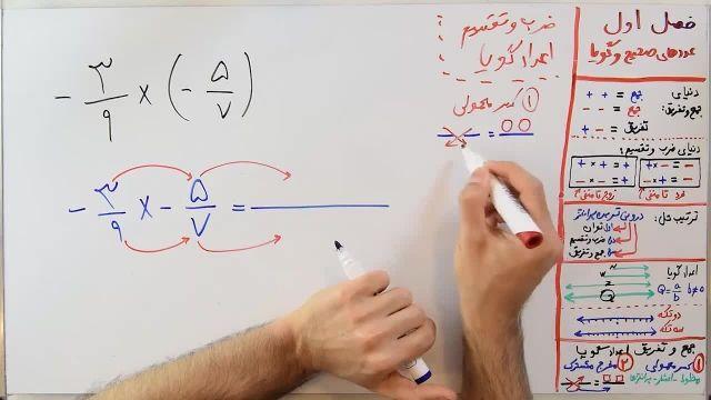 آموزش ریاضی پایه هشتم فصل اول بخش پنجم ضرب و تقسیم عددهای گویا و سوالات ترکیبی