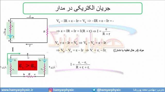 جلسه 103 فیزیک یازدهم - نیروی محرکه الکتریکی و مدار 3 - مدرس محمد پوررضا