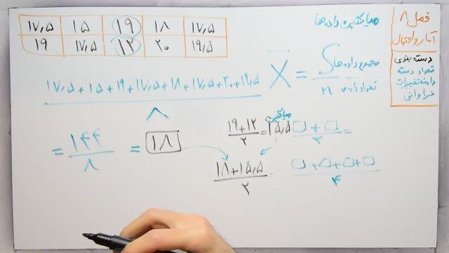 آموزش ریاضی پایه هشتم - فصل هشتم -بخش دوم-میانگین داده ها و مرکز دسته