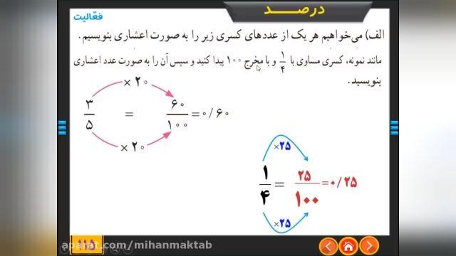 آموزش رایگان ریاضی پایه ششم - فصل 6 - کسر نسبت و تناسب درس دوم