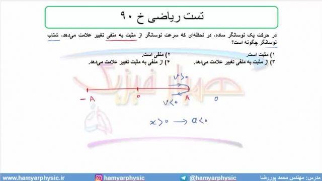 جلسه 144 فیزیک دوازدهم - نوسانگر هماهنگ ساده 7 و  تست ریاضی خ 90 - محمد پوررضا