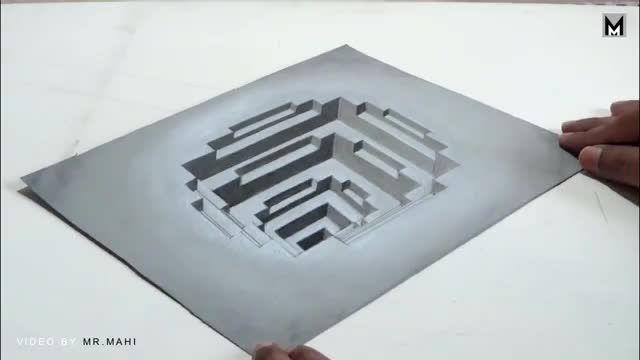 فیلم آموزش نقاشی سه بعدی با مداد - 3 ترفند حقه بازی روی کاغذ با نقاشی