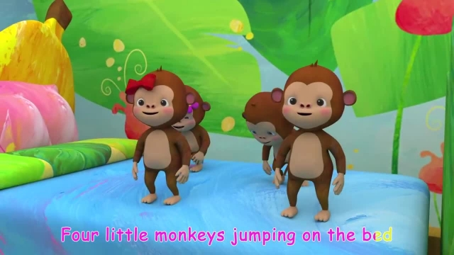ترانه های کودکانه انگلیسی - پنج میمون کوچک بر روی تخت