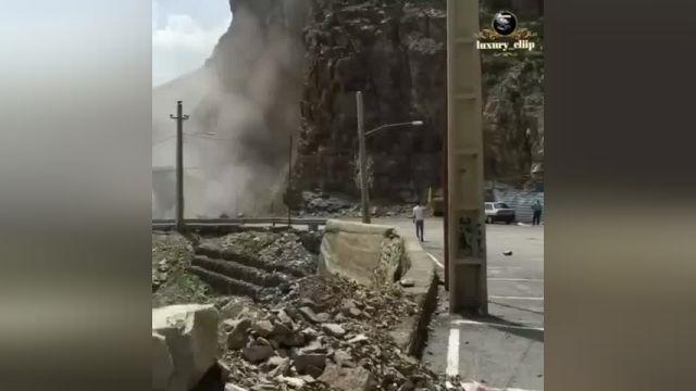 ریزش کوه در جاده هراز