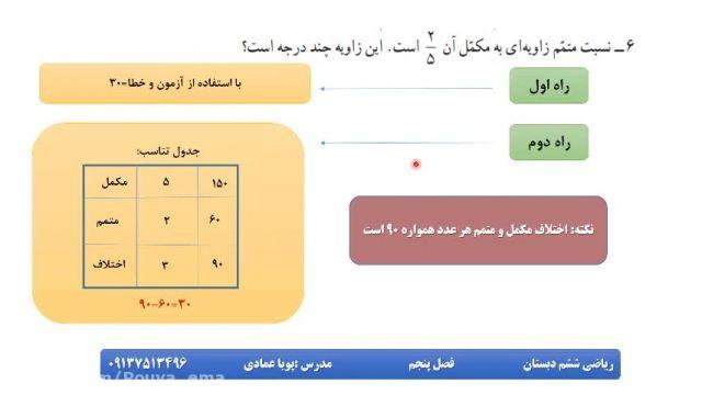 آموزش بخش5 ریاضی ششم(خط و زاویه)بخش دوم