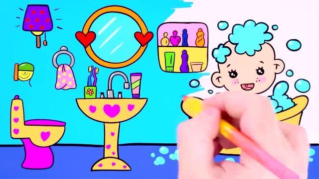 اموزش نقاشی و رنگ امیزی برای کودکان ( حمام )