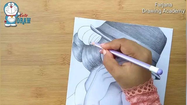 اموزش گام به گام طراحی با مداد برای مبتدیان (دختر با کلاه)
