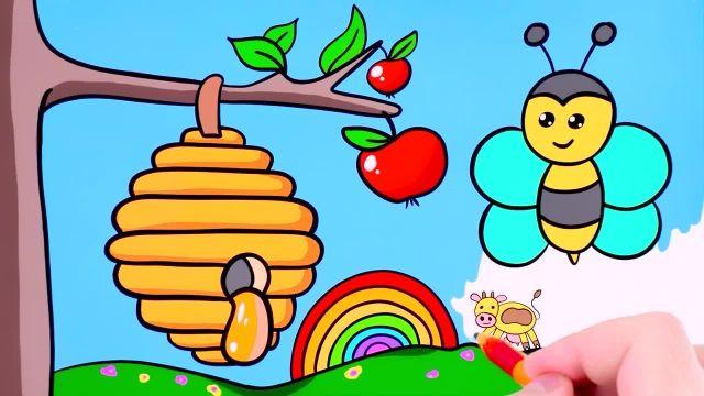 اموزش نقاشی برای کودکان ( زنبور ) و رنگ امیزی ان