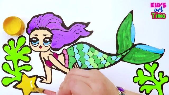 اموزش نقاشی عروسک پری دریایی با رنگ امیزی به کودکان