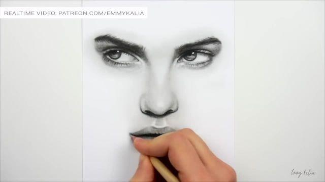 رسم چشم ، بینی و لب با مدادهای گرافیتی