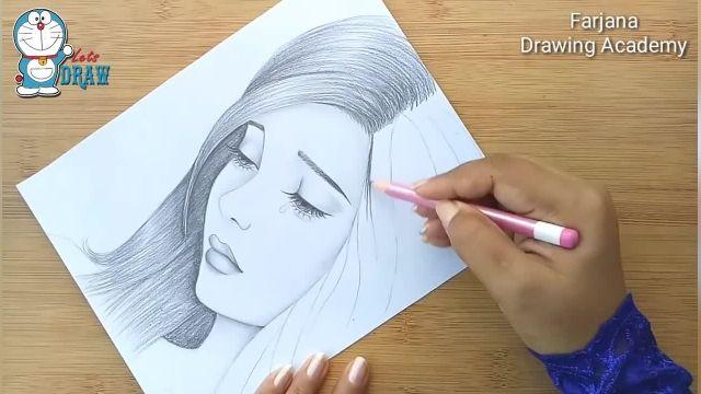 اموزش طراحی با مداد برای مبتدیان ( دختر غمگین )