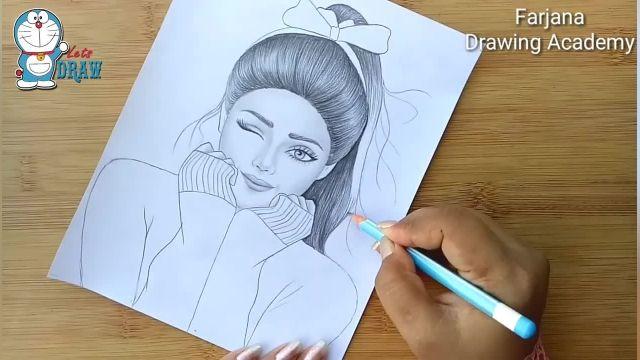 اموزش گام به گام طراحی با مداد برای مبتدیان (دختر جوان)