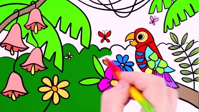 آموزش نقاشی و رنگ امیزی برای کودکان ( طوطی در جنگل )