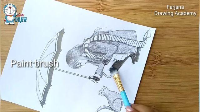 اموزش طراحی با مداد برای مبتدیان (دختر با گربه در باران)