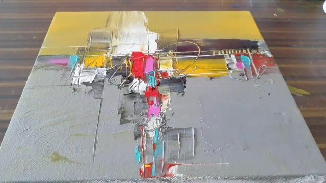 آموزش نقاشی ابستره با رنگ اکرلیک و تکنیک اسان