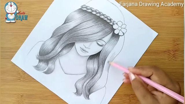 اموزش طراحی با مداد برای مبتدیان (دختر با موهای زیبا )