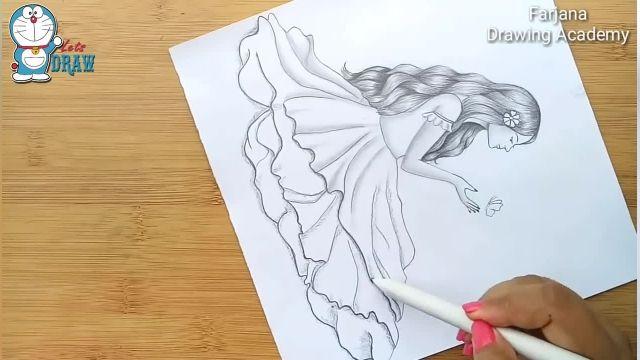 اموزش گام به گام طراحی با مداد (دختر با پروانه)