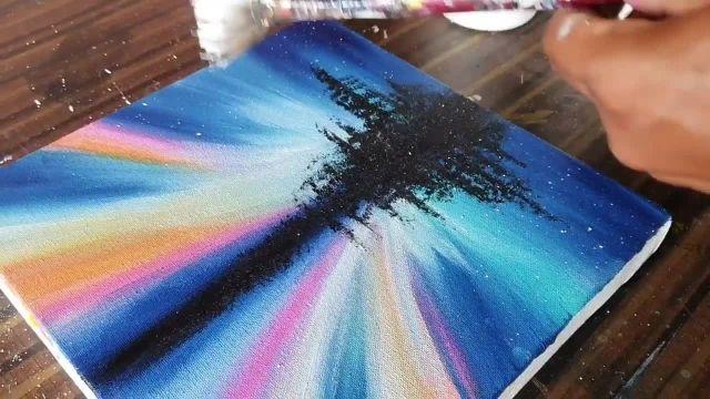 اموزش نقاشی ابستره با موضوع نورهای شمالی