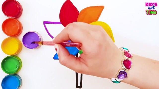 اموزش نقاشی و کشیدن گل و رنگین کمان برای کودکان