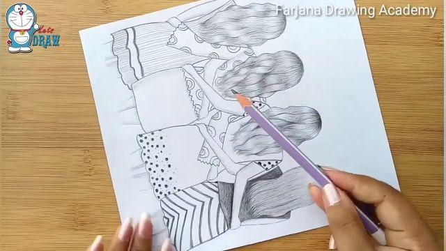 اموزش گام به گام طراحی با مداد برای مبتدیان (بهترین دوستان)
