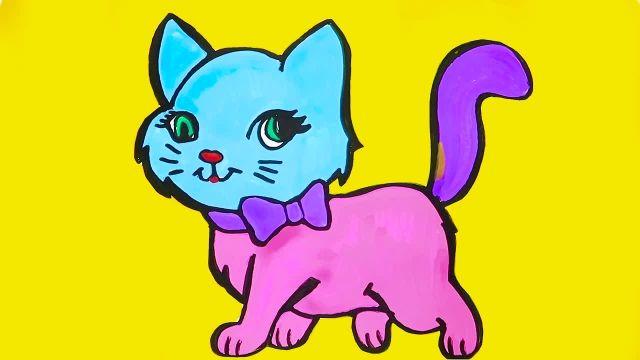 اموزش نقاشی و رنگ امیزی برای کودکان ( بچه گربه )