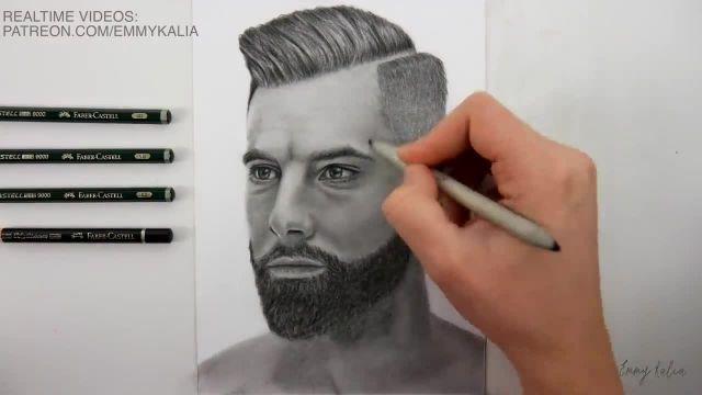 اموزش گام به گام طراحی چهره سیاه قلم ( مردی با ریش )