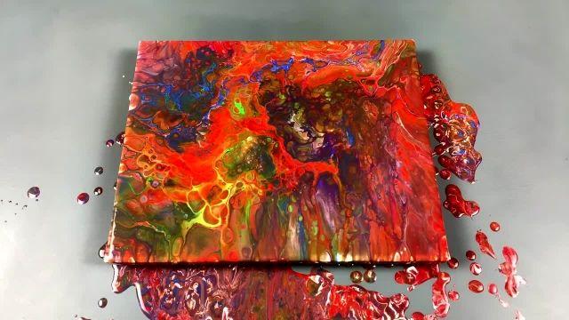 اموزش شگفت انگیز نقاشی ابستره با مخلوط رنگها