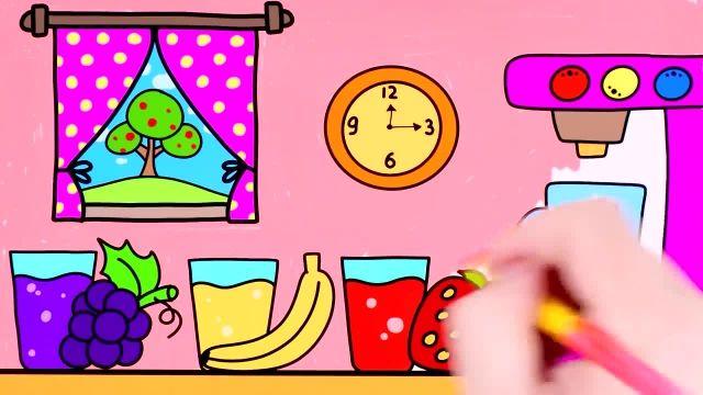 اموزش نقاشی و رنگ امیزی برای کودکان ( میوه و اب میوه )