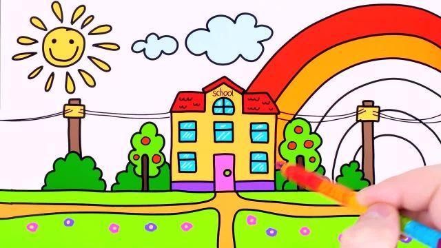اموزش نقاشی و نحوه کشیدن مدرسه و رنگ امیزی ان برای کودکان