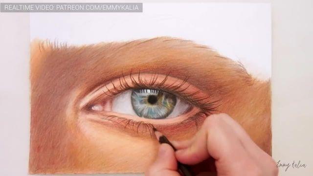 اموزش سریع نقاشی چشم با مداد رنگی