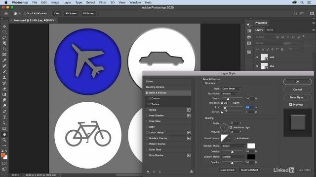 آموزش فتوشاپ - ساخت استایل های خلاقانه با افکت های موجود در پنجره ی layer styles