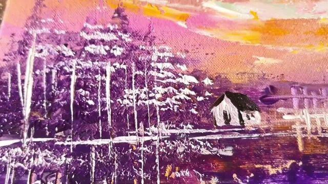 اموزش اسان نقاشی ابستره منظره با رنگ اکرلیک