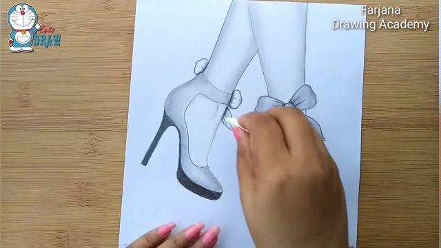 آموزش گام به گام طراحی با مداد برای مبتدیان ( کفش پاشنه بلند )