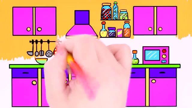 آموزش نقاشی و رنگ امیزی برای کودکان ( اشپزخانه )