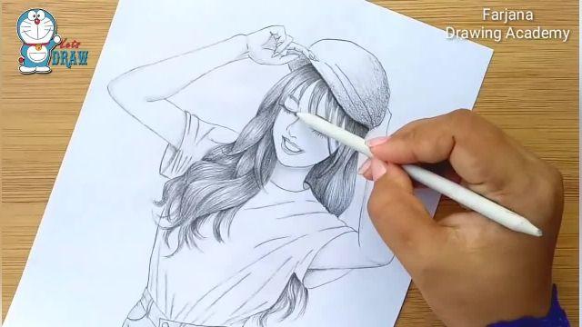اموزش گام به گام طراحی با مداد برای مبتدیان ( دختر با کلاه لبه دار )