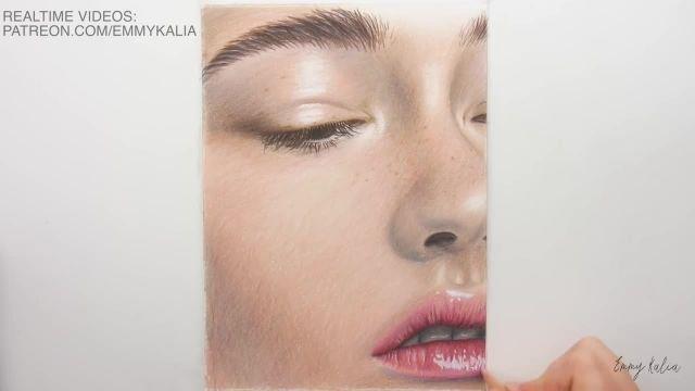 اموزش گام به گام نقاشی چهره با مداد رنگی