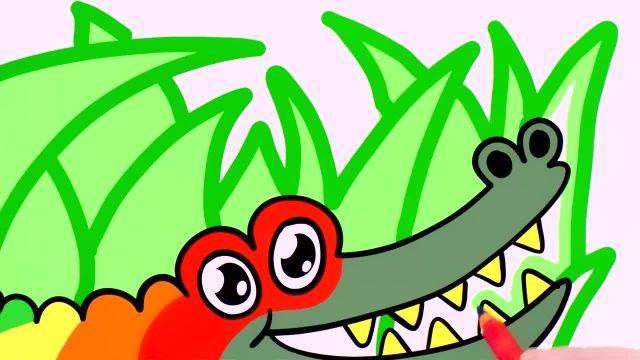 اموزش نقاشی نحوه کشیدن و رنگ امیزی تمساح برای کودکان