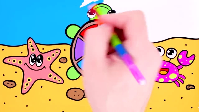 اموزش نقاشی و رنگ امیزی برای کودکان (لاک پشت)