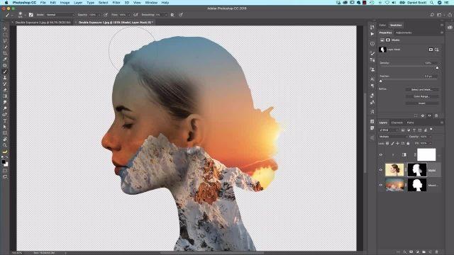 آموزش پیشرفته فتوشاپ - نحوه ایجاد یک double exposure
