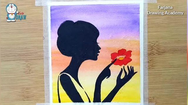 اموزش گام به گام نقاشی با ابرنگ برای مبتدیان (دختر و گل)