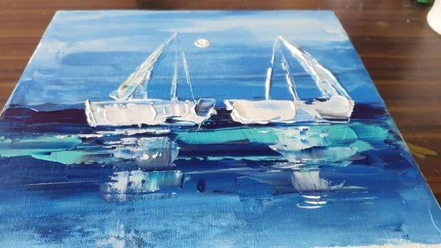 اموزش نقاشی ابستره کشیدن دریا و قایق به روش ساده