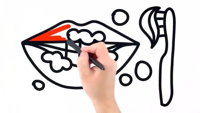 اموزش نقاشی مسواک و خمیر دندان برای کودکان به همراه رنگ امیزی