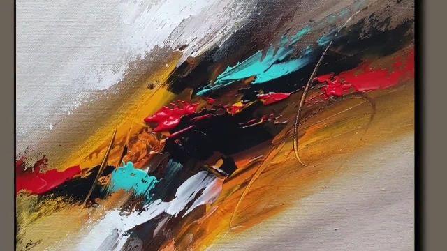 نقاشی اسان ابستره با رنگ اکرلیک و کاردک