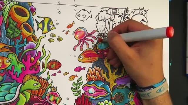 آموزش نقاشی با طرح و مدل اقیانوس