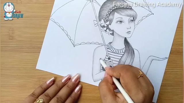 اموزش گام به گام طراحی با مداد برای مبتدیان (دختر با چتر)